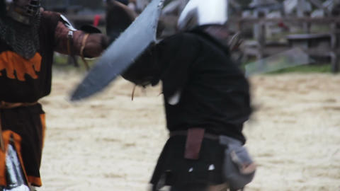 Members of knightly orders competing on battle field, martial skills tournament Footage