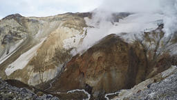 Crater of active volcano: fumarole, thermal field, hot spring Footage
