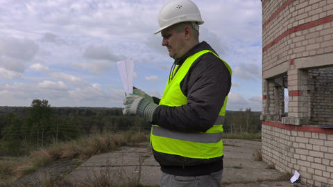 Engineer with paper airplane Footage