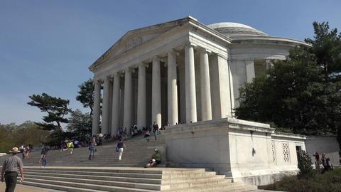 Jefferson Monument tourists front steps Washington DC 4K 055 Footage