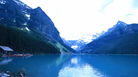 Lake Louise boat house day P HD 7468 Footage