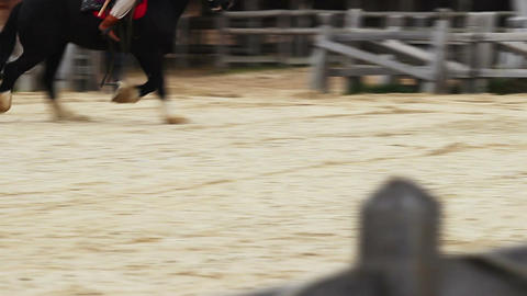 The medieval festival of horse riding. Riders mastery of impressive horse tricks Footage