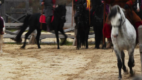 Horse riders with flags. Horses running at gallop. Medieval action with knights Footage