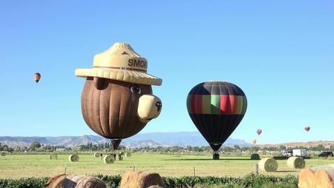 Landing field Smokey Bear hot air balloon 4K 067 Footage