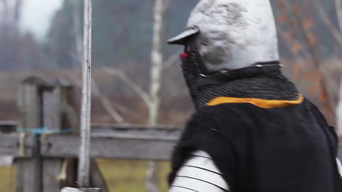 Fierce medieval battle with a rival. Physically strong and resolute knight man Live Action