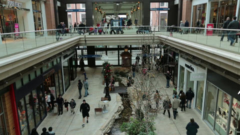 Luxury Shopping mall busy Christmas holiday HD 0260 Footage