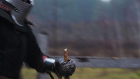 Knight showing all his hatred in the battle, fighting to the last drop of blood Footage