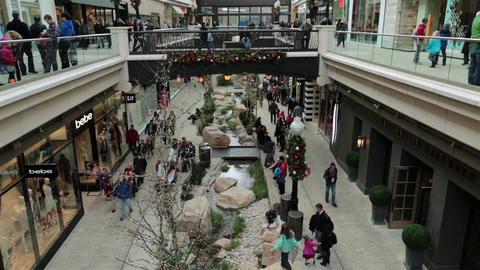 Mall shoppers family fun slow motion HD 0265 Footage