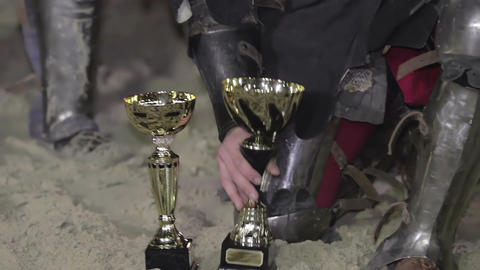 Rewarding the knights. Reenactment of historical action, medieval tournament Live Action