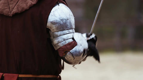 Knight tournament between two brave rivals. Reenactment of medieval battle Footage