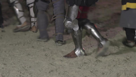 Medieval army of knights come back home. Reenactment of historical action Footage