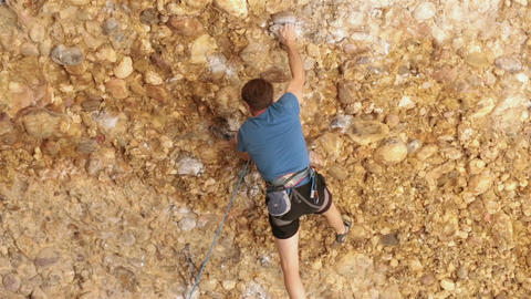 Man rock climbing in Maple Box Canyon HD 2678 Footage