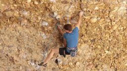 Man rock climbs Maple Box Canyon Utah HD 2677 Footage