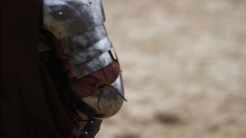 Reenactment of knight tournament, two opponents fighting, point of view Footage