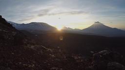Volcanic landscape of Kamchatka: view of sunrise over volcanoes Footage
