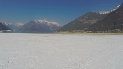 Snow melting at national park, beautiful mountain landscape, glacier on peaks Footage