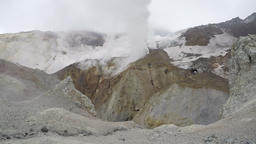 Crater of active volcano: hot spring, fumarole, thermal field Footage