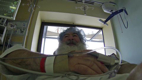 Mature man hospital patient in recovery room HD 064 Footage