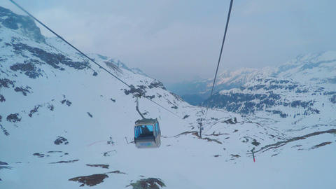 Mountain cable car passenger point of view, trip to ski resort, extreme sport Footage