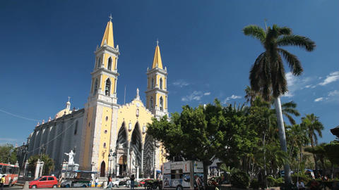 Mazatlan central square church P HD 4761 Footage