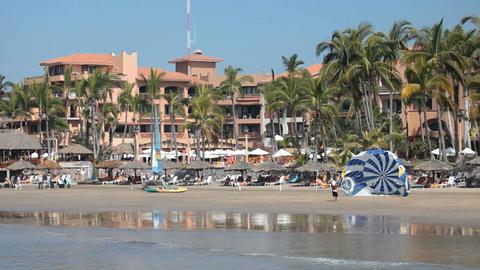 Mazatlan resort beach parasail P HD 4834 Footage