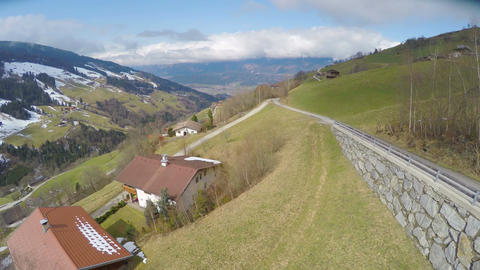 Aerial view of nice village in Austrian Alps, beautiful green landscape, tourism Footage