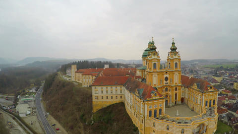 Aerial view, beautiful old catholic abbey courtyard, baroque style architecture Footage