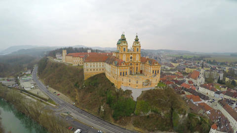 Aerial view of Melk Abbey in Austria, foggy spring day in old European city Footage