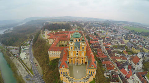 Aerial view of town Melk in Austria. Famous Melk Abbey on the River Danube Live Action