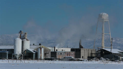 Meat processing plant winter smoke steam fast time lapse HD 0204 Footage