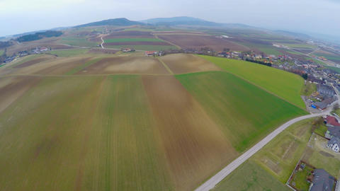 Flying over cultivated fields, green pastures, farmland. Agricultural industry Footage