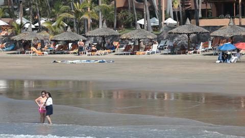 Mexico beach tourists P HD 4845 Footage