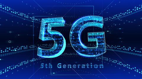5G Digital Network technology 5th generation mobile communication concept background 2 F1 blue 4k Animation