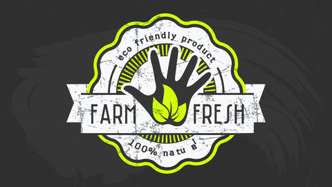 advertising for farm selling eco friendly natural fresh food with vintage style graphic on black Animation