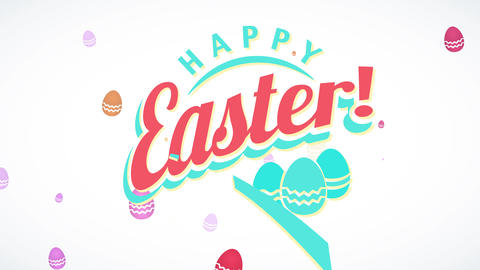 dinner invitation for satisfied easter with exclamation mark 50s offset and three multicolored Animation