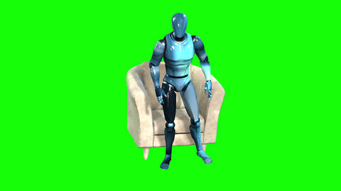 712 4k 3d animated two Avatars first robot then man sitting in chair and talking Animation