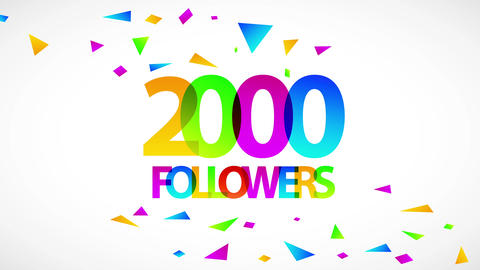 2000 followers festive sign for people sharing information with friends creating digital community Animation
