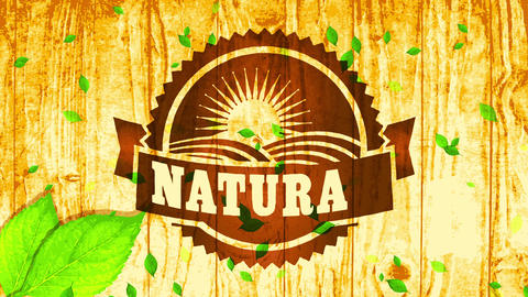 natural vegan food business brand concept with wood etching style on finished background and leaves Animation