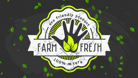 promotion for farm selling eco kind natural fresh aliment with old-fashioned style graphic on black Animation