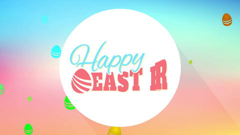 cheerful easter postcard for surprise egg hunt party with mature refined offset on gradient color Animation