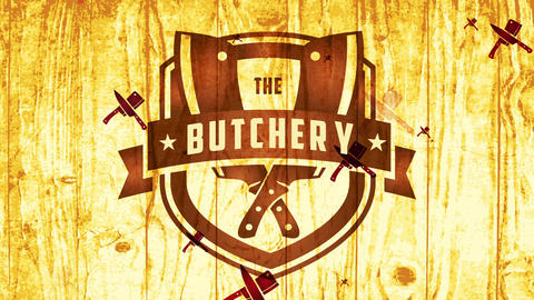 shepherd western style insignia for murder with retro part and meat cutlery on timber texture Animation