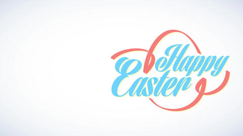 laughing easter with silkish award wrapping fashionable cursive writing and building representative Animation