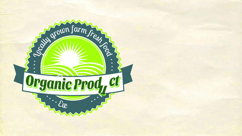 locally grown ranch pure aliment rounded symbol on paper texture background for green vital good Animation