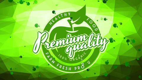 circular trademark for farm premium quality healthy fresh healthful nutrient on background crafted Animation