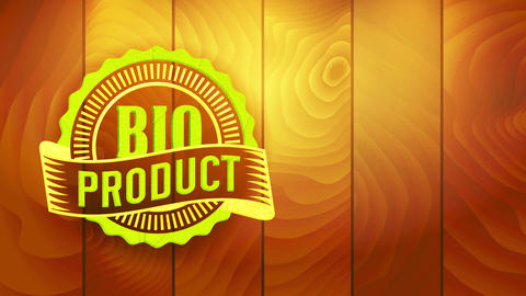 bio coupon for good following specific eco kind value standards with retro elements on wood texture Animation