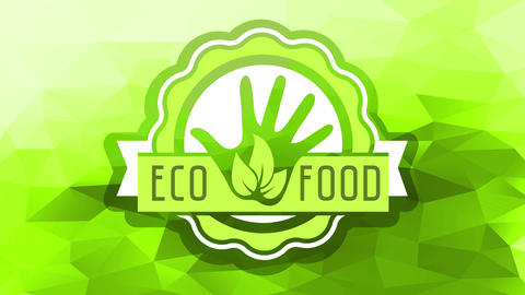 cool healthy eco food product brand ad with rounded wavy stamp around an open hand with leaves and Animation