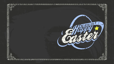 holiday celebration advert text one wish you smiling easter on black blackboard and antique texture Animation