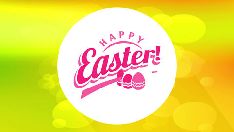 egg hunt festival announcement with text happy easter on centered white circle creating shadow on Animation