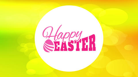 modern happy easter cover card with vintage letters inside white circle and above vivid color Animation