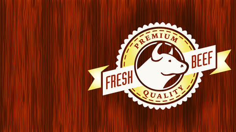highly demanded beef trademark with elegant symbol from renowned foodstuff store link forming Animation